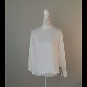 Zara Off White Button Shoulder Blouse